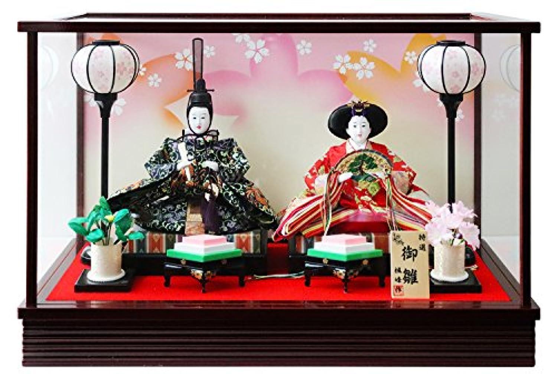 雛人形 ケース入り親王飾り 間口55×奥行27.5×高さ36.5cm 黒塗枠ガラスケース 3207