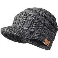 FORBUSITE ニット帽 冬 厚手 暖か裏起毛付きのニットキャスケット 防寒用具としてのつば付きニット帽 男女兼用 カジュアル 大きいサイズ B320