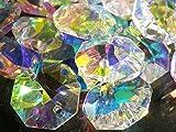 八角 クリスタル ガラスビーズ 14mm オクタゴン 70個 セット 手作り サンキャッチャー シャンデリア 材料 パーツ