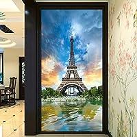Weaeo 3Dパーサジェム美しいエッフェル塔入り口壁画壁紙リビングルームホテルの背景壁画ホームインテリア-400X280Cm