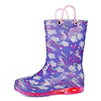 K KomForme Kids Rain Boots, Waterproof Light up Boots with Easy-on Handles