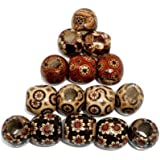 200 Painted Wood Barrel Drum Beads Mixed Patterns 17mm x 16mm with Large 7.4mm Hole