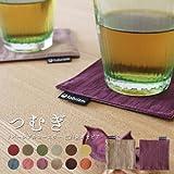 fabrizm 日本製 コースター 10×10cm つむぎ リバーシブル 江戸紫×セピア 1083_pur-pur