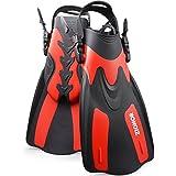 Zionor F1 Diving Snorkel Short Fins Flippers Men Women Adjustable Open Heel Trek Design Travel Snorkeling Swimming