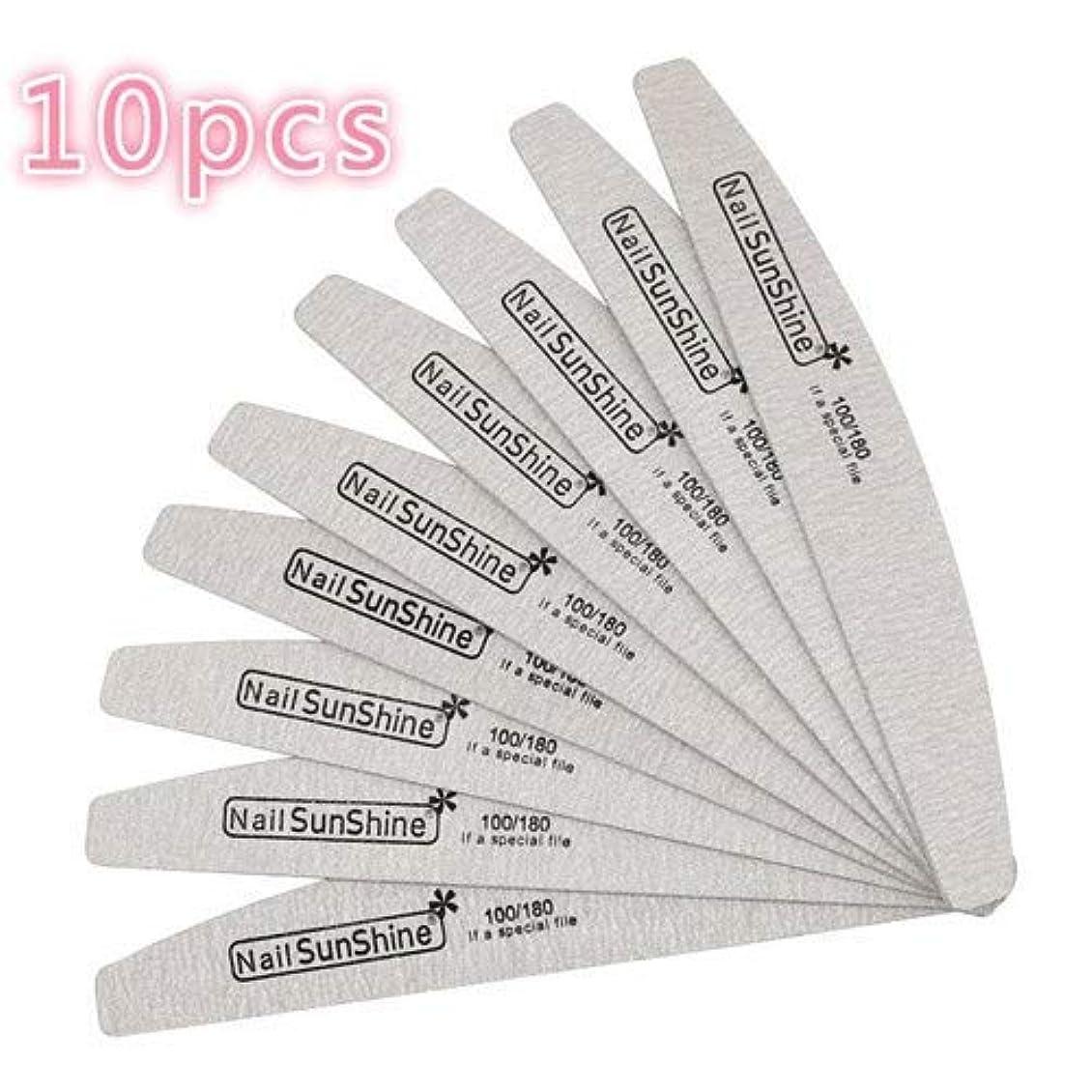 経験者電気の方程式マニキュア100/180の強い厚い紙やすりのための10個の木製ネイルファイル