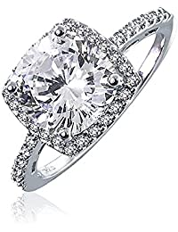 3 CT Square Cushion Cut AAA CZ Cubic Zirconia Halo Statement Engagement Ring Thin Pave Band 925 Sterling Silver