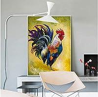 北欧ウォールアートプリント絵画動物カラフルなオンドリキャンバス絵画モジュラー写真リビングルーム家の装飾60×80センチフレームレス