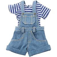 Prettyia 12インチ 1/6 ブライスドール 人形服 ジャンプスーツ Tシャツ 衣装セット 全2色 - ブルー
