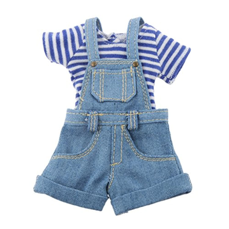 Perfk 12インチ 1/6 ブライスドール 人形用 可愛い Tシャツ ジーンズジャンプスーツ  全2色  - ブルー