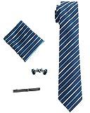 Orienex ネクタイ ネクタイピン スカーフ カフス 4点セット 高品質 紳士用 ビジネス 就活 卒業式