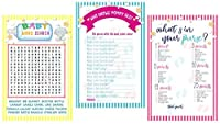 3 Baby Shower Games: BABY WORD SEARCH (50 sheets) WHO KNOWS MOMMY BEST (50 sheets WHAT'S IN YOUR PURSE? (50 sheets) [並行輸入品]