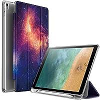Infiland ipad air(第三世代) ケース2019春 iPad Pro 10.5ケース 半透明キズ防止合成レザーカバー Apple Pencil収納 軽量 薄型 オートスリープ機能 三つ折りスタンドカバー iPad 10.5インチ クリアケース