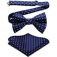 HISDERN Pre-Tied Bow Ties for Men Formal Tuxedo Mens Classic Bowtie Handkerchief Pocket Square Set Adjustable Length Large Variety Colors + Pattern Available