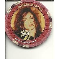 $ 5 Caesars Gloria EstefanラスベガスカジノチップSuper Rare