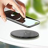 【Humixx】QI急速ワイヤレス充電器 QC2.0/3.0 急速充電 置くだけ充電 多重保護 超薄型 呼吸ランプ付き USBケーブル付き 日本語説明書付き 保証書付き iPhoneX対応 他Qi規格対応 QI(チー)基準 (ワイヤレスチャージャ, ブラック)