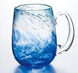 沖縄の海と空の青を感じる琉球ガラスのギフトブルーの手作りビアジョッキ1個【引出物 内祝 父の日 記念品】