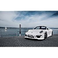 絵画風 壁紙ポスター (はがせるシール式) ポルシェ 911 カレラ4S テックアート 991型 2012年 ホワイト キャラクロ P991-009W2 (ワイド版 603mm×376mm) 建築用壁紙+耐候性塗料