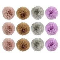 ゴシレ Gosear 12本の色の盛り合わせ帽子のアクセサリーを編むキーホルダーシューズのための弾性コード付き5cmのふわふわのウサギの毛皮のポンポンボール