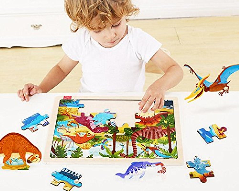 chusea興味深い木製ジグソー木製教育パズル初期学習カラー動物おもちゃFantastic Gifts for Kids ( Dinosaur World )