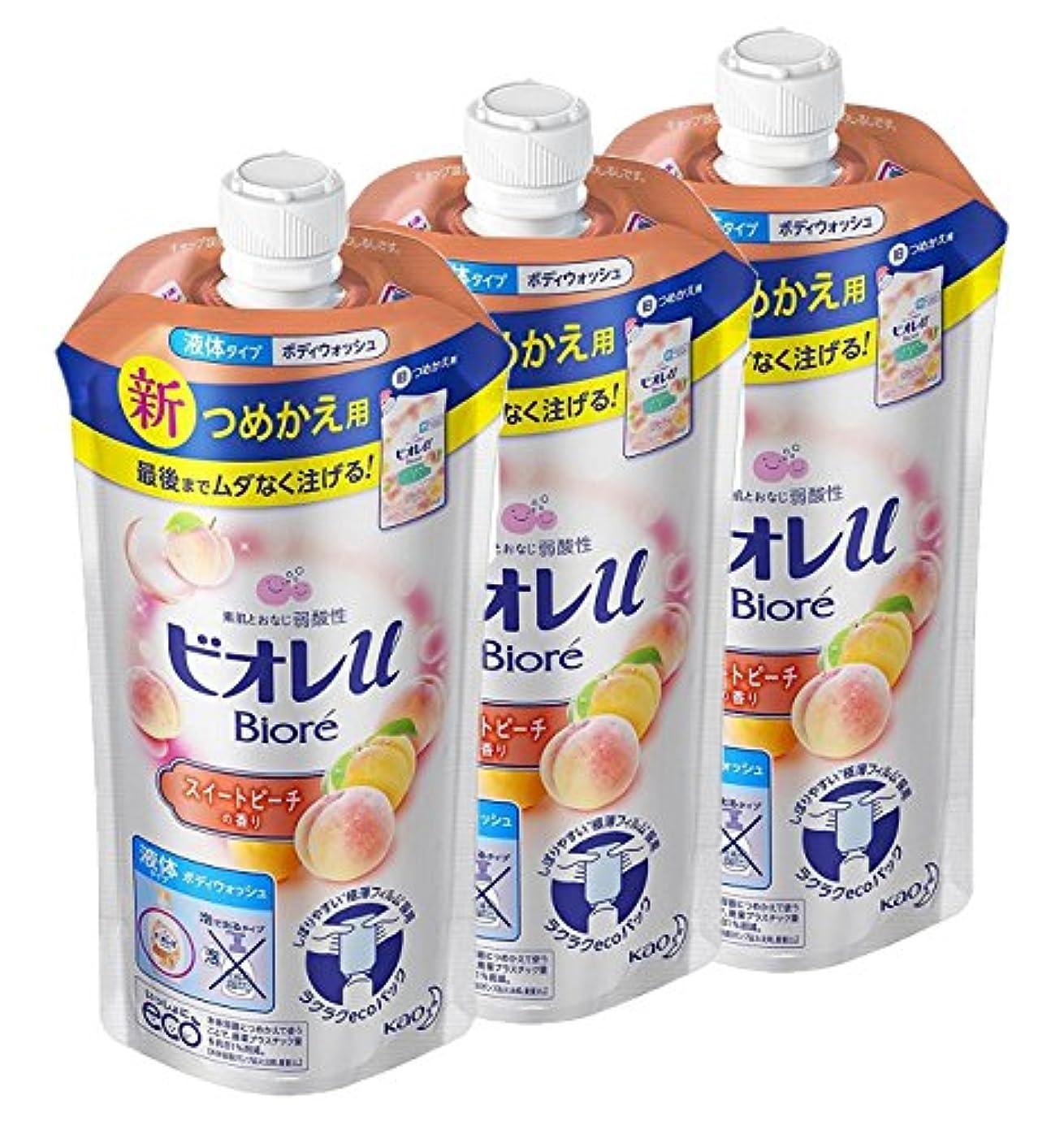 基礎肌欠陥【まとめ買い】ビオレu スイートピーチの香りつめかえ用 340ml × 3個