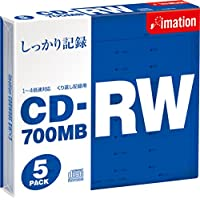 Imation  CDRW 700MB 1~4倍速対応 スリムケース(5mm)1枚入り5枚パック CDRW80S BWX5
