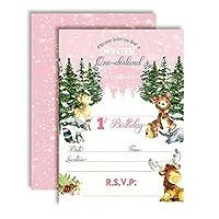 AmandaCreation ウッドランド 冬用 ワンダーランド 初めての誕生日パーティー招待状 女の子用 5インチx7インチ カード入り 20枚の白い封筒付き