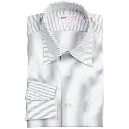(スキャッティ)SCHIATTI 80番手双糸ブロードストライプレギュラーカラーシャツ 225472 28 ホワイトxブルーストライプ 40