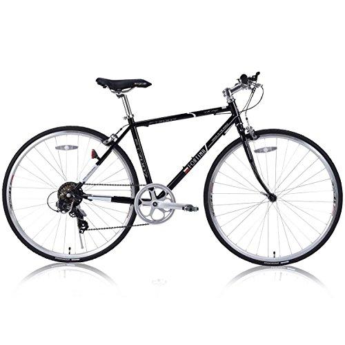 FORTINA(フォルティナ) FT-7007 クロスバイク700C シマノ製7段変速付(サムシフター)  軽量設計 クイックレリーズ 高さ調整可能Aヘッドスタイルステム (ノワールブラック)
