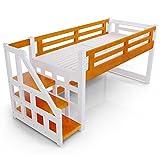 LOWYA (ロウヤ) ロフトベット 木製ベット 天然木 北欧パイン スノコ 階段 左右対応 ミドルタイプ シングルベット ホワイト/ライトブラウン 一人暮らし おしゃれ