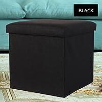リネンスクエア繊維板ストレージスツール/洋服収納ボックス/子供のおもちゃ収納ボックス (色 : ブラック, サイズ さいず : 38cm*38cm*38cm)