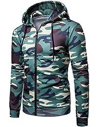 gawaga メンズロングスリーブ迷彩フーディーフードスウェットシャツトップスジャケット
