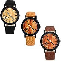 Lancardo メンズ 腕時計 レザー バンド ウォッチ (3点セット)木製文字盤 数字表示 クォーツ 腕時計 ブラック ブラウン コーヒー色 カジュアル メンズ ファッション アクセサリー