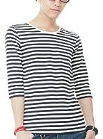 (ベストマート)BestMart マリン ボーダー Tシャツ メンズ 7分袖 Uネック Vネック 605072