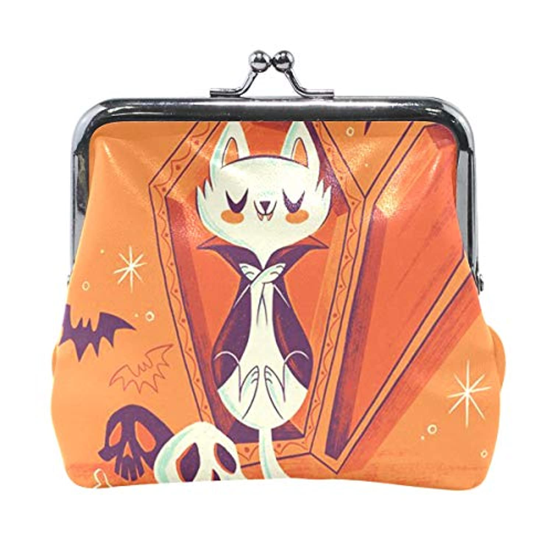 がま口 小銭入れ 財布 ハロウィン 吸血鬼子猫 コインケース レザー製 丸形 軽量 人気 おしゃれ プレゼント ギフト 雑貨