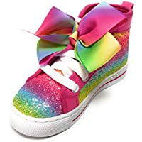 Jojo Siwa Girls Shoes Sneakers High Top Glitter Rainbow Tye Dye with Bow (Rainbow Glitter, 3 Big Kid)