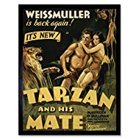 Advertising Movie Film Tarzan Mate Jane Weissmuller Jungle Lion Art Print Framed Poster Wall Decor 12X16 Inch 広告映画膜ジャングルライオンポスター壁デコ