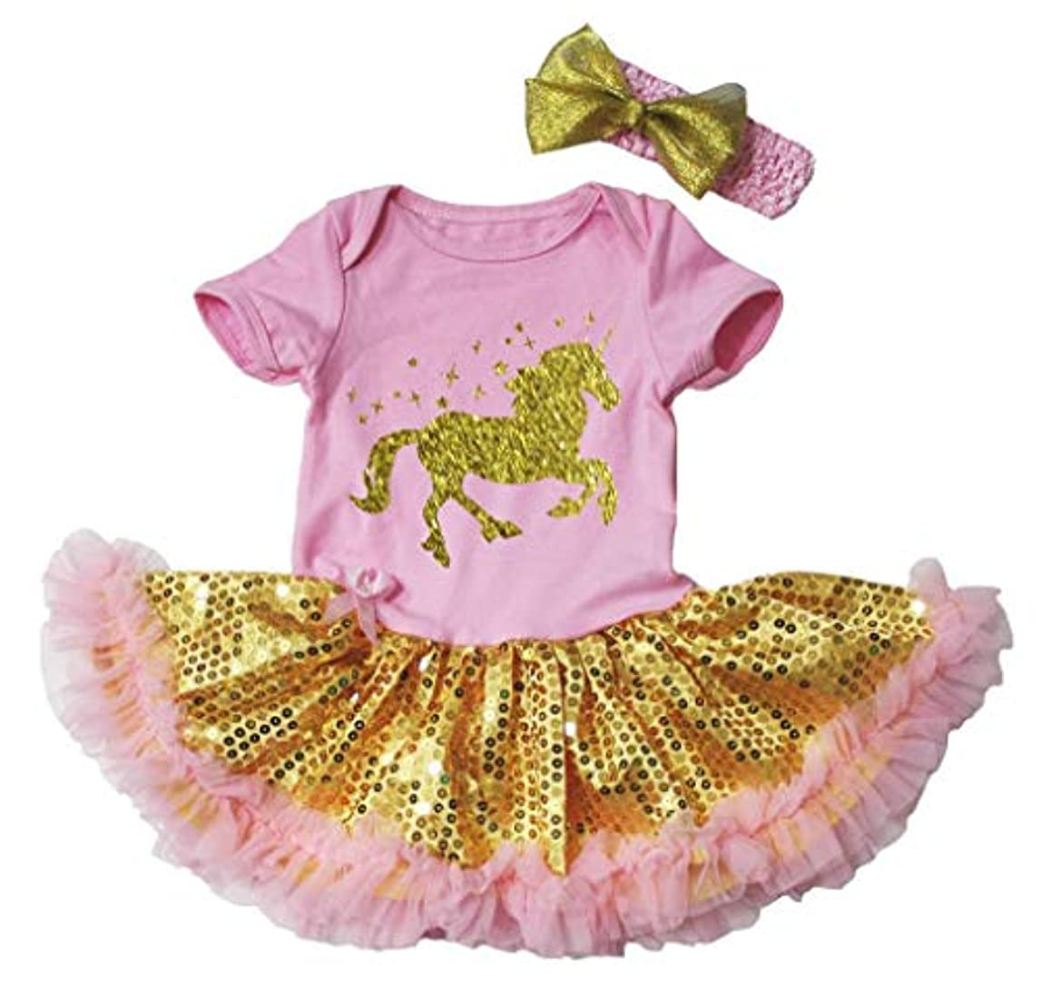 寝てる赤ちゃん頭痛[キッズコーナー] Unicorn ユニコーン ピンク ボディスーツ ゴールド スパンコールのチュチ、コスチューム、子供のチュチュ、ベビー服、女の子のワンピースドレス Nb-18m (ピンク, Medium) [並行輸入品]