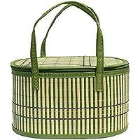 Abusun 竹かご ギフトボックス かごバスケット 手編み 手提げ 自然素材 バンブーバスケット 折りたたみ可能 軽量 携帯便利