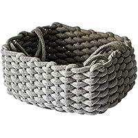 手織りの厚手コットンロープバスケットデスクトップキースナックおもちゃ収納バスケット、グレー
