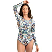 AXESEA Womens Long Sleeve Rash Guard UV UPF 50+ Sun Protection Printed Zipper Surfing One Piece Swimsuit Bathing Suit
