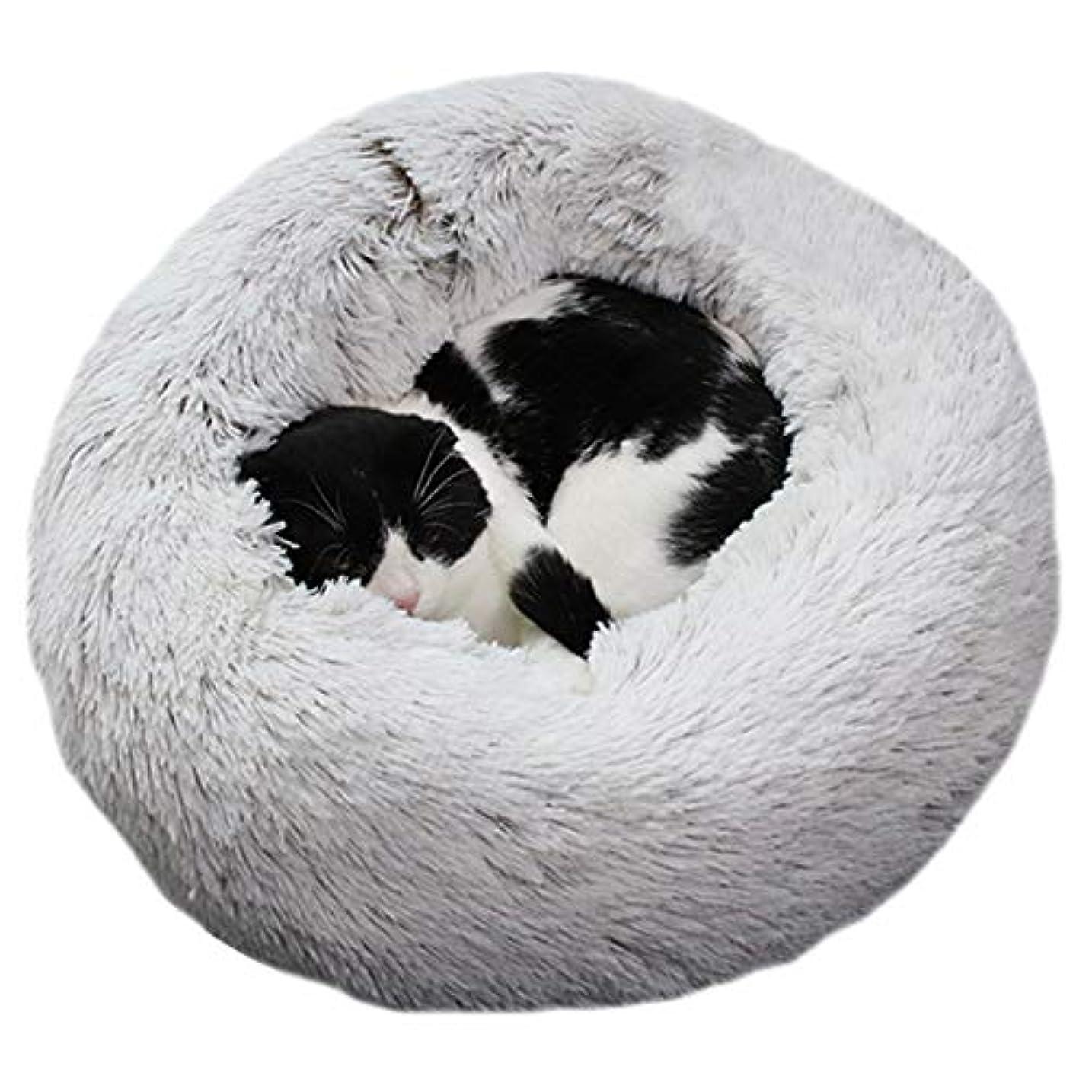 怒り電報かろうじてAlligadoペットぬいぐるみドーナツ抱きしめる猫ベッド暖かいソフト厚く高められた犬子犬マットクッション