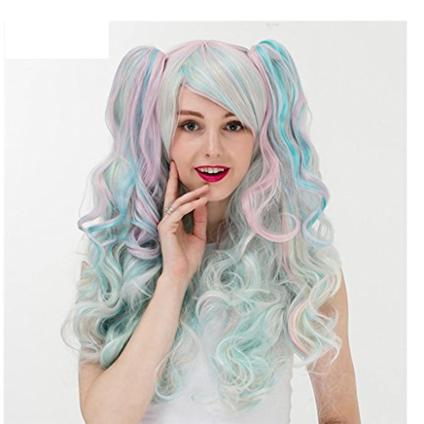 障害者ミトン屋内で女性のポニーテール勾配ヨーロッパやアメリカのアニメかつらの長い髪のヘッドギア (Color : GREEN)
