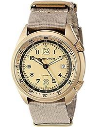 Hamilton ハミルトン メンズ 時計 腕時計 Men's 'KHAKI AVIATION' Swiss Automatic Metal and Canvas Dress Watch, Color:Beige (Model: H80435895)
