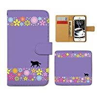 Tiara Qua phone KYV37 スマホケース 手帳型 シルエット 黒ネコ 猫 ねこ POP 手帳ケース カバー [F025402_03]