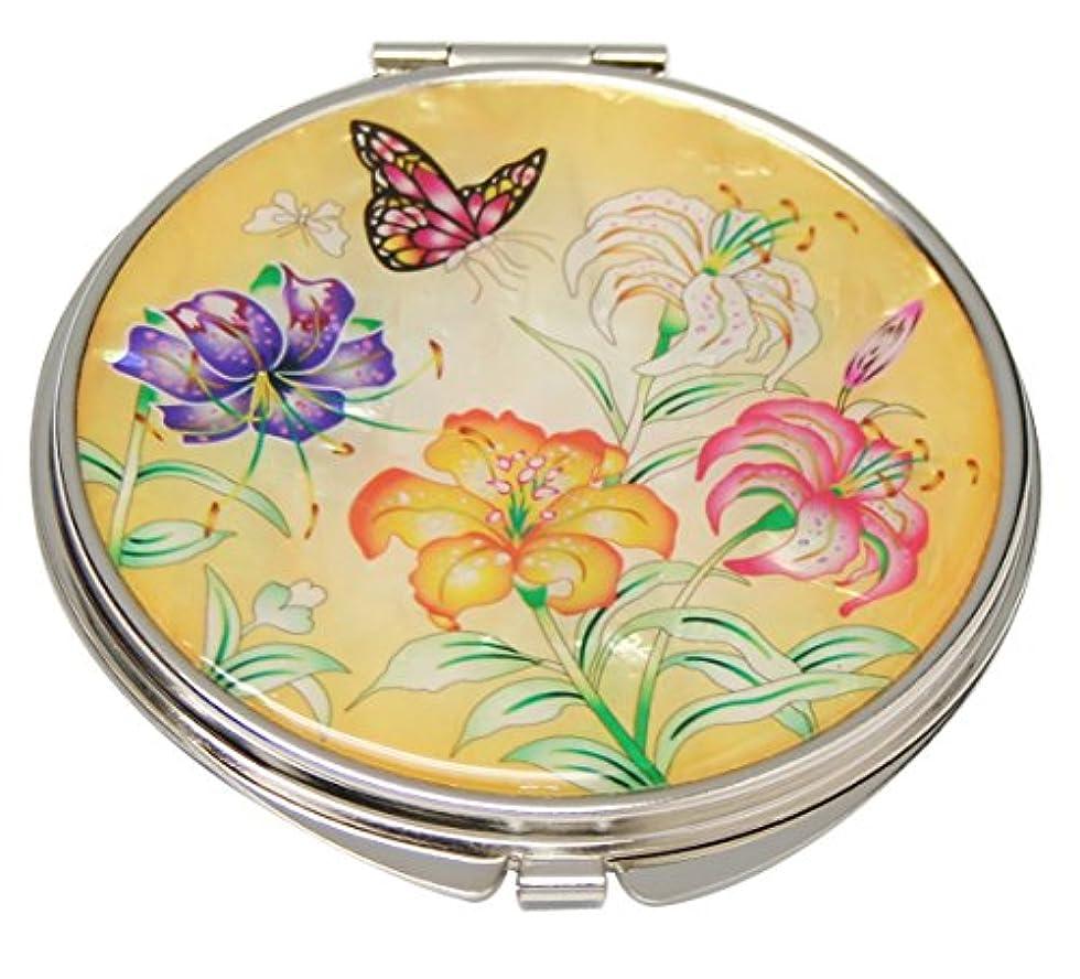 螺鈿細工 手工芸品 2倍率の拡大鏡付き メタル手鏡 丸型 蝶と百合の花柄両面コンパクトミラー [並行輸入品]