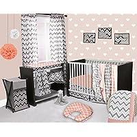 Bacati Ikat Coral/grey 6 Crib Set with 4 Muslin Blankets by Bacati