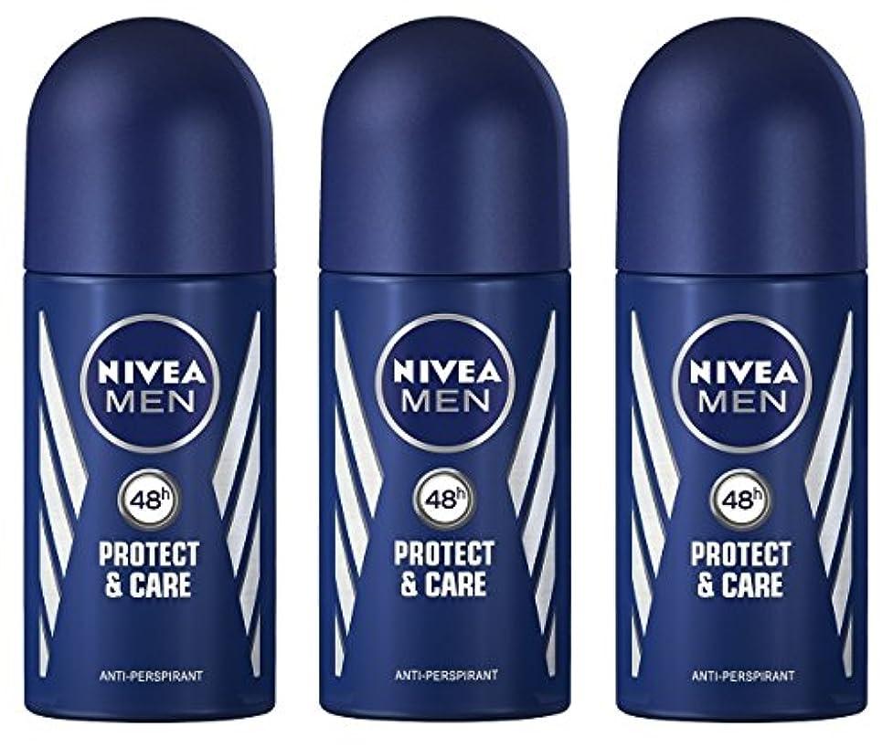 いろいろエッセンス雑種(Pack of 3) Nivea Protect & Care Anti-perspirant Deodorant Roll On for Men 3x50ml - (3パック) ニベア保護するそしてお手入れ制汗剤デオドラントロールオン...