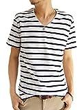 (アーケード) ARCADE メンズ 半袖 Tシャツ スラブ生地 胸ポケット付き Vネック カジュアル カットソー LL ホワイト×ネイビー(Vネック)