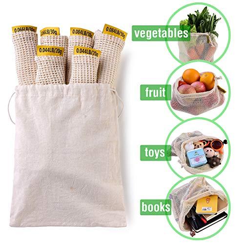 巾着袋 - 7個セット再利用可能な野菜袋、あみネット オーガニックコットンメッシュリサイクルバッグ、オーガナイザー、果物野菜/おもちゃ/洗濯用布のような食料品店舗用ストレージ3つのサイズの天然コットンメッシュバッグS M L