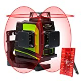 Huepar 12ライン 赤色レーザー墨出し器 クロスラインレーザー 自動水平調整機能 高輝度 ライン出射角360°*3 GF360R